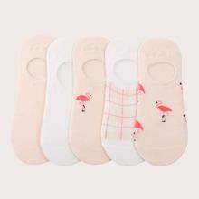 5 Paare Socken mit niedrigem Schnitt und Flamingo Muster
