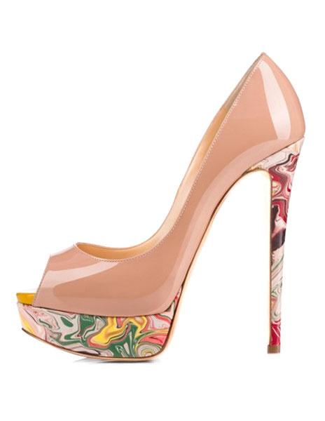 Milanoo Color Carne Zapatos de Tacon Alto con Plataforma para Mujer 2020 Zapatos de Vestido con Punta Abierta Impreso Zapatos de Tacon Alto