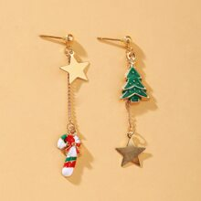 Christmas Tree Charm Drop Earrings