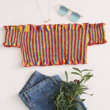 Plus Colorful Stripe Smocked Frill Bardot Bikini Top