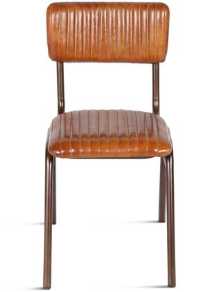 ZWHDSBOB-2X Hudson Collection Leather Side Chairs in Set of 2 with Stitched Detailing and Iron Frame in