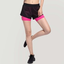 Pink Durchsichtiges Netz Colorblocks Sport Shorts