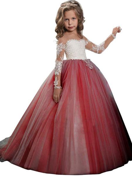 Milanoo Vestidos de niña de las flores Cuello de joya Mangas largas Encaje Vestidos formales para niños