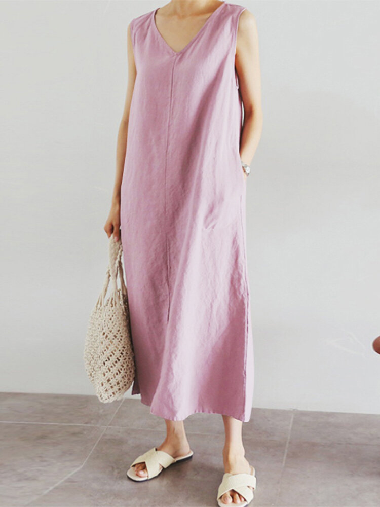 Casual Solid Color V-neck Sleeveless Plus Size Maxi Dress