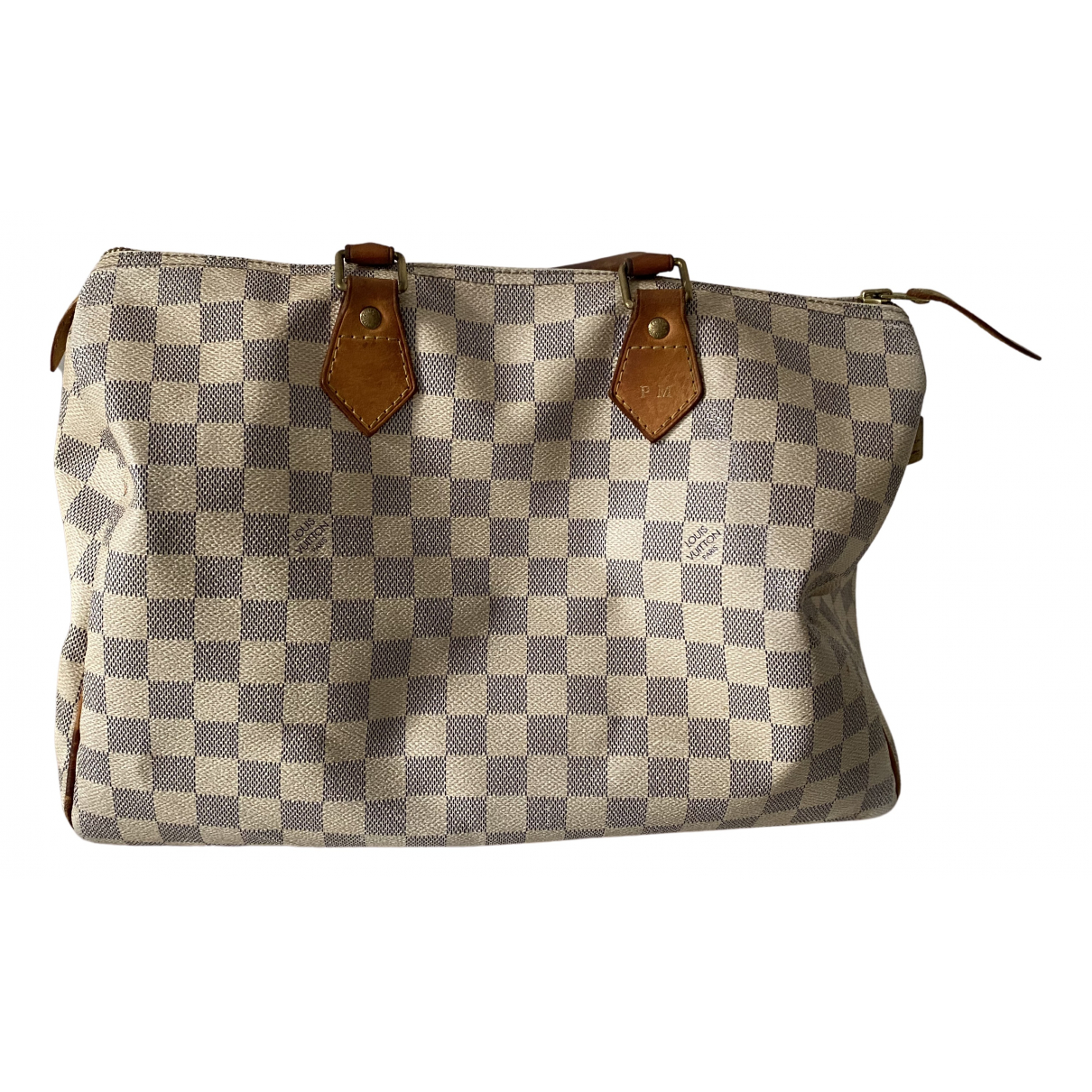 Louis Vuitton Speedy Handtasche in  Weiss Leinen