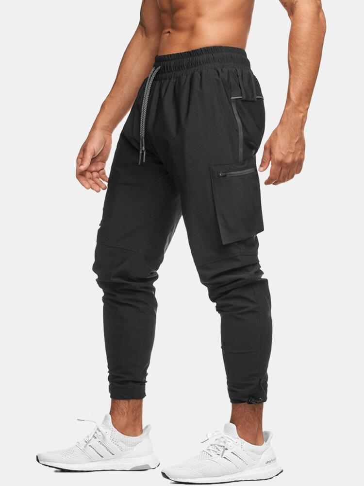 Mens Sport Reflective Zipper Pocket Detail Fitness Running Drawstring Jogger Pants