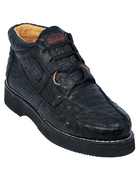 Los Altos Men's Stylish Black Full Ostrich Skin Casual Sneakers