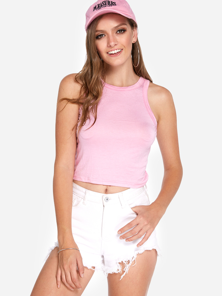 Yoins Pink Round Neck Bodycon Crop Tank Top