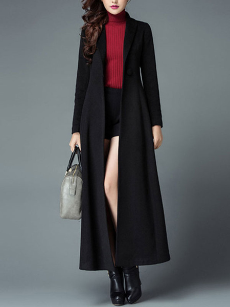 Milanoo Winter Coat Turndown Collar Buttons Casual Oversized Black Coat For Woman