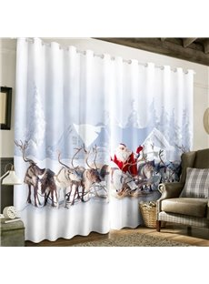 3D Lovey Deer and Santa Claus with White Snow Printed Polyester Custom Window Curtain