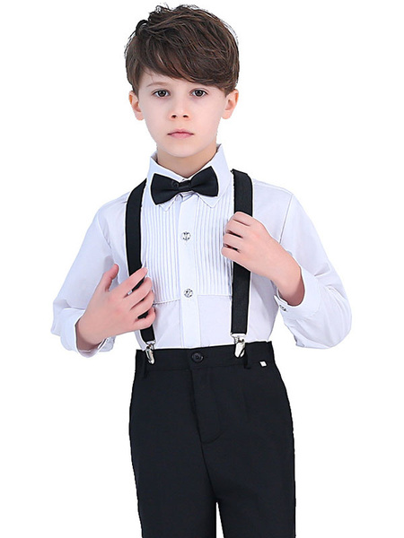 Milanoo Ring Bearer Suits Cotton Long Sleeves Shirt Cravat Pants Formal Party Suits For Kids 3pcs