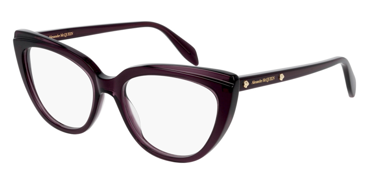 Alexander McQueen AM0253O 003 Women's Glasses Violet Size 53 - Free Lenses - HSA/FSA Insurance - Blue Light Block Available