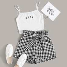 Embroidered Letter Cami Top and Paperbag Waist Shorts Set