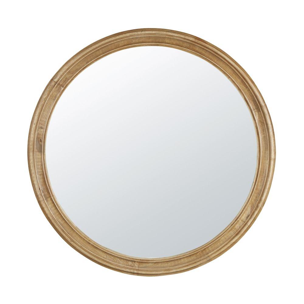Runder Spiegel aus Kautschukholz mit Zierleisten D90