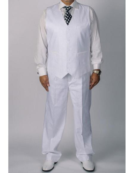Mens silversilk white 1 coated linen vest and pants 2 piece set
