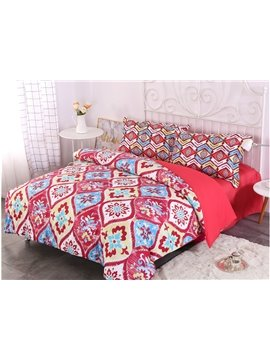 Red Paisley Bohemian Style Pattern 4-Piece Bedding Sets/Duvet Cover