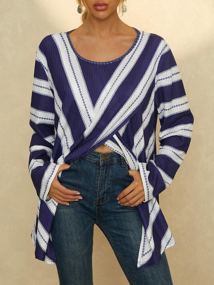 Striped Knit Asymmetrical Split Hem Plus Size Blouse