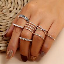 7pcs Floral & Circle Ring
