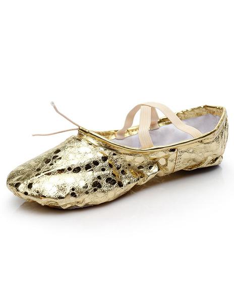 Milanoo Gold Ballet Shoes 2020 Women Round Toe Criss Cross Belly Dance Shoes