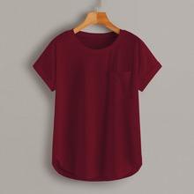 Camisetas Bolsillo Liso Bermellon Casual