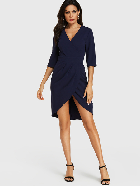 YOINS Blue Wrap Design V-neck Half Sleeves Dress