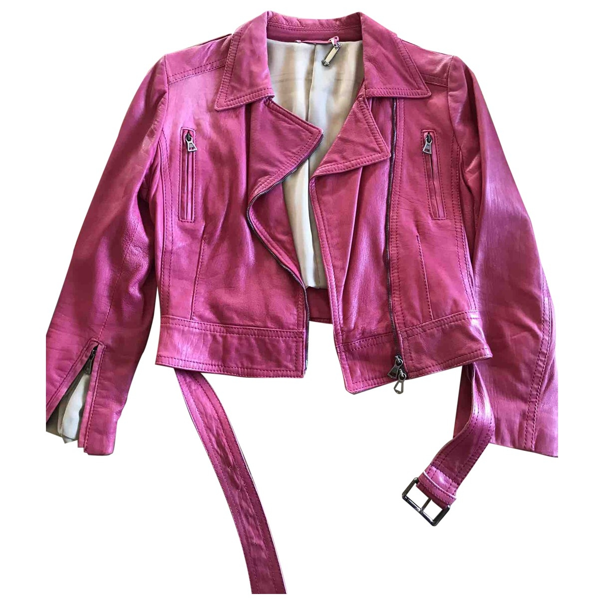 Non Signé / Unsigned \N Pink Leather jacket for Women 34 FR