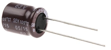 Yageo 100μF Electrolytic Capacitor 63V dc, Through Hole - SE063M0100B5S-1012 (25)