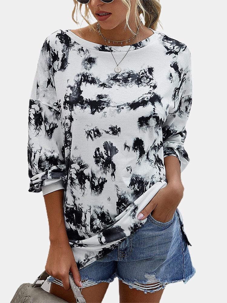 Tie-dyed Long Sleeves O-neck Split Hem T-shirt For Women