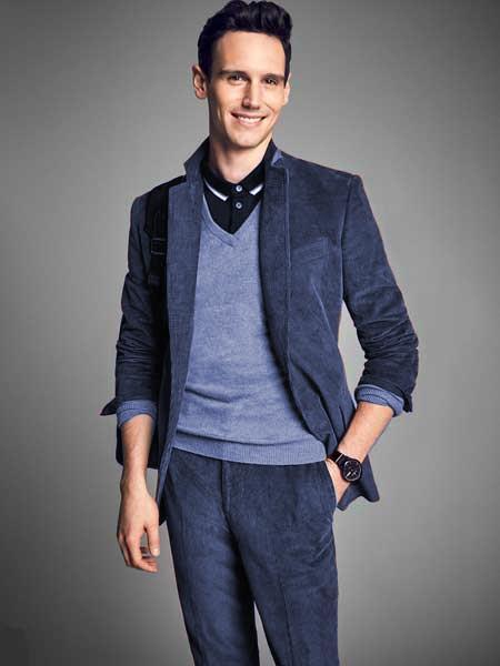Mens Navy Blue Notch Lapel Velvet CORDUROY SUIT Blazer Sportcoat