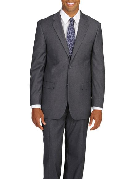 Caravelli Mens Double Vent 2 Button Grey Notch Lapel Suit