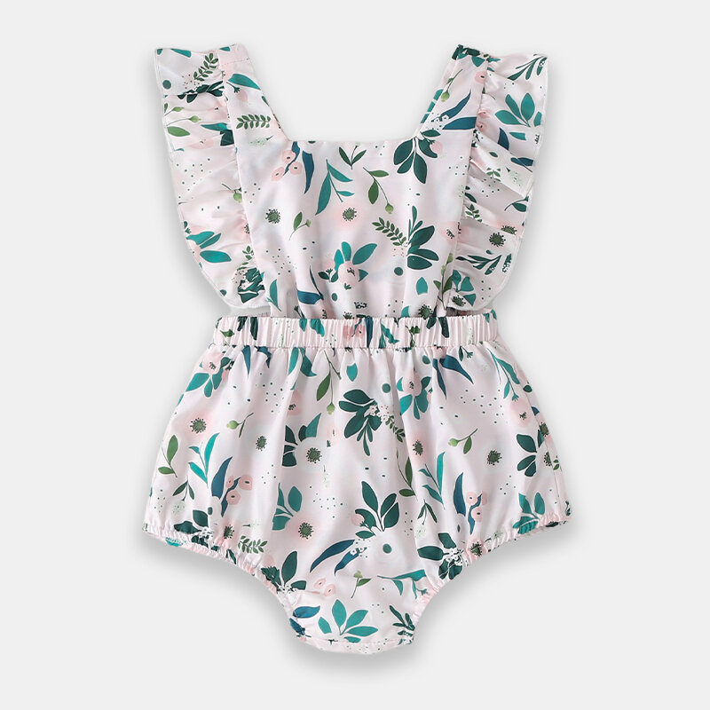 Baby Green Flower Sleeves Casual Rompers For 0-24M