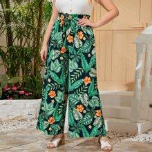 Pantalones palazzo tropical con cinturon de cintura con volante - grande