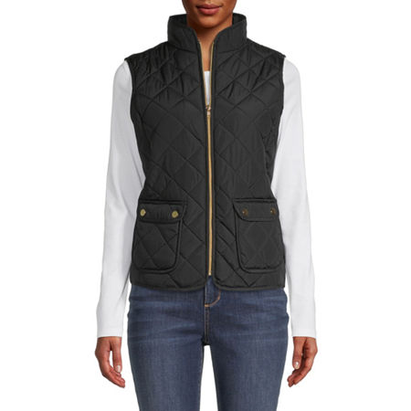 St. John's Bay Quilted Vest, Small , Black