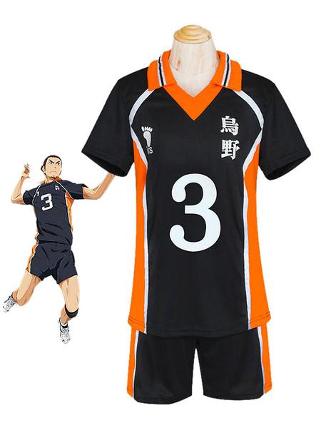 Milanoo Haikyuu!! Azumane Asahi Cosplay Costume No. 3 Jersey Halloween