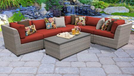 FLORENCE-07b-TERRACOTTA Florence 7 Piece Outdoor Wicker Patio Furniture Set 07b with 2 Covers: Grey and