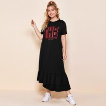 Plus Asymmetrical Ruffle Hem Slogan Graphic Dress