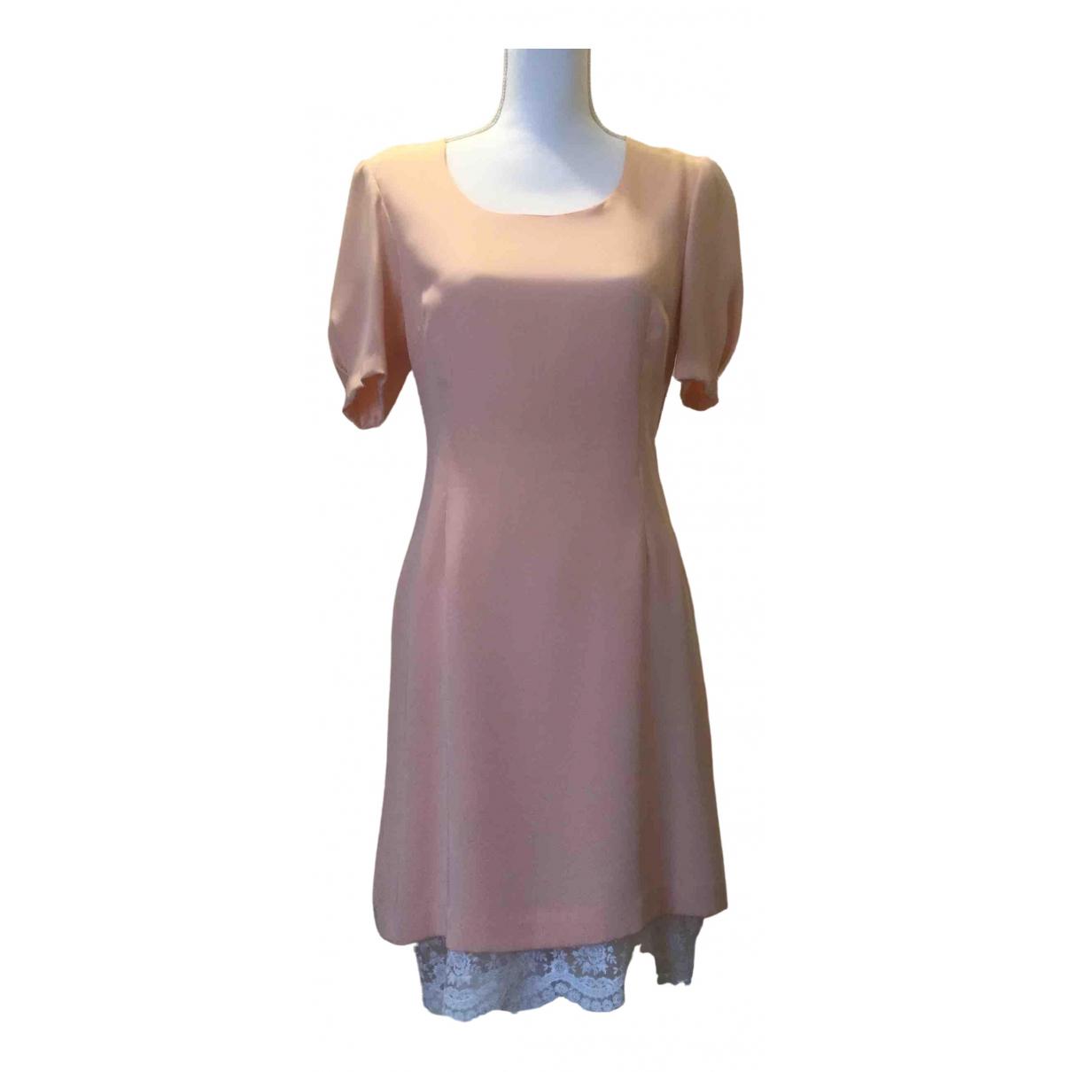 Non Signe / Unsigned Manche ballon Kleid in  Rosa Seide