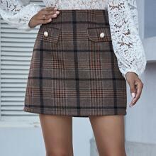 Plaid Print Pearl Detail Mini Skirt