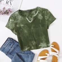 Notched Neck Tie Dye Top