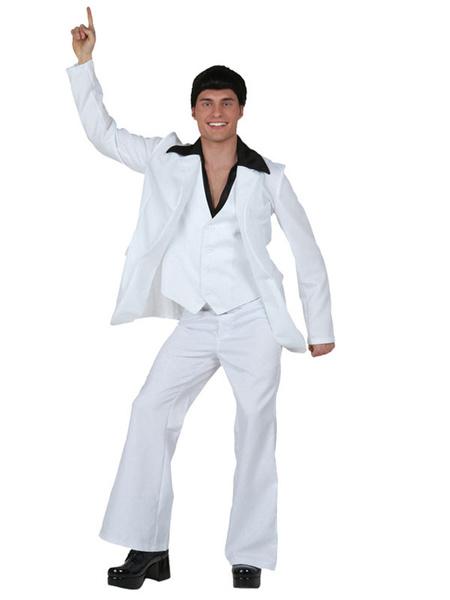 Milanoo Retro Costume Disco 1970s  Halloween Men White Outfit Waistcoat Jacket Pants Belt 4 Piece