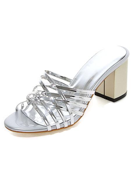 Milanoo Mules Sheos Pink Women's Block heel sandal Shoes