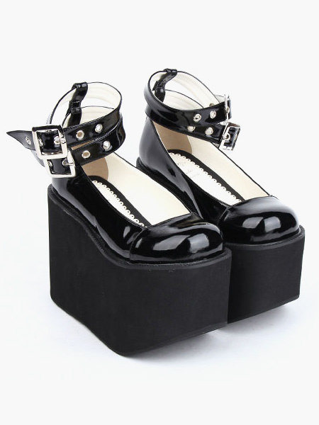 Milanoo Lovely Black Round Toe PU Leather Daily Casual Lolita Shoes