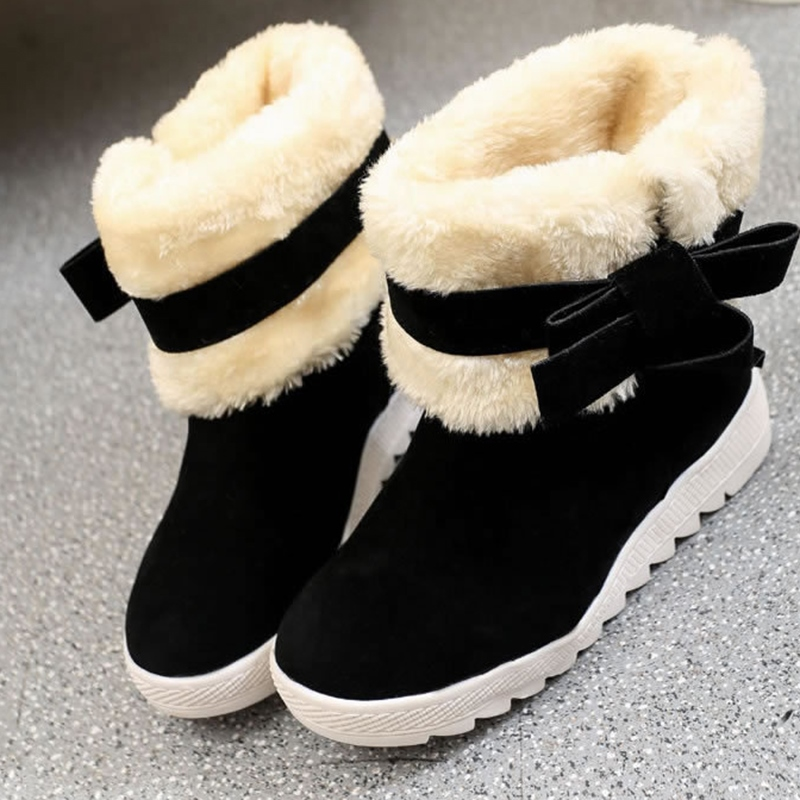 Ericdress Bowknot Plain Hidden Elevator Heel Women's Snow Boots