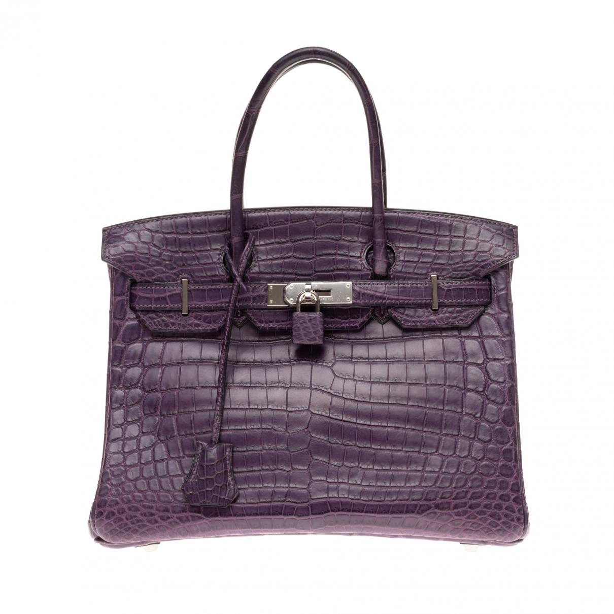 Hermes - Sac a main Birkin 30 pour femme en crocodile - violet