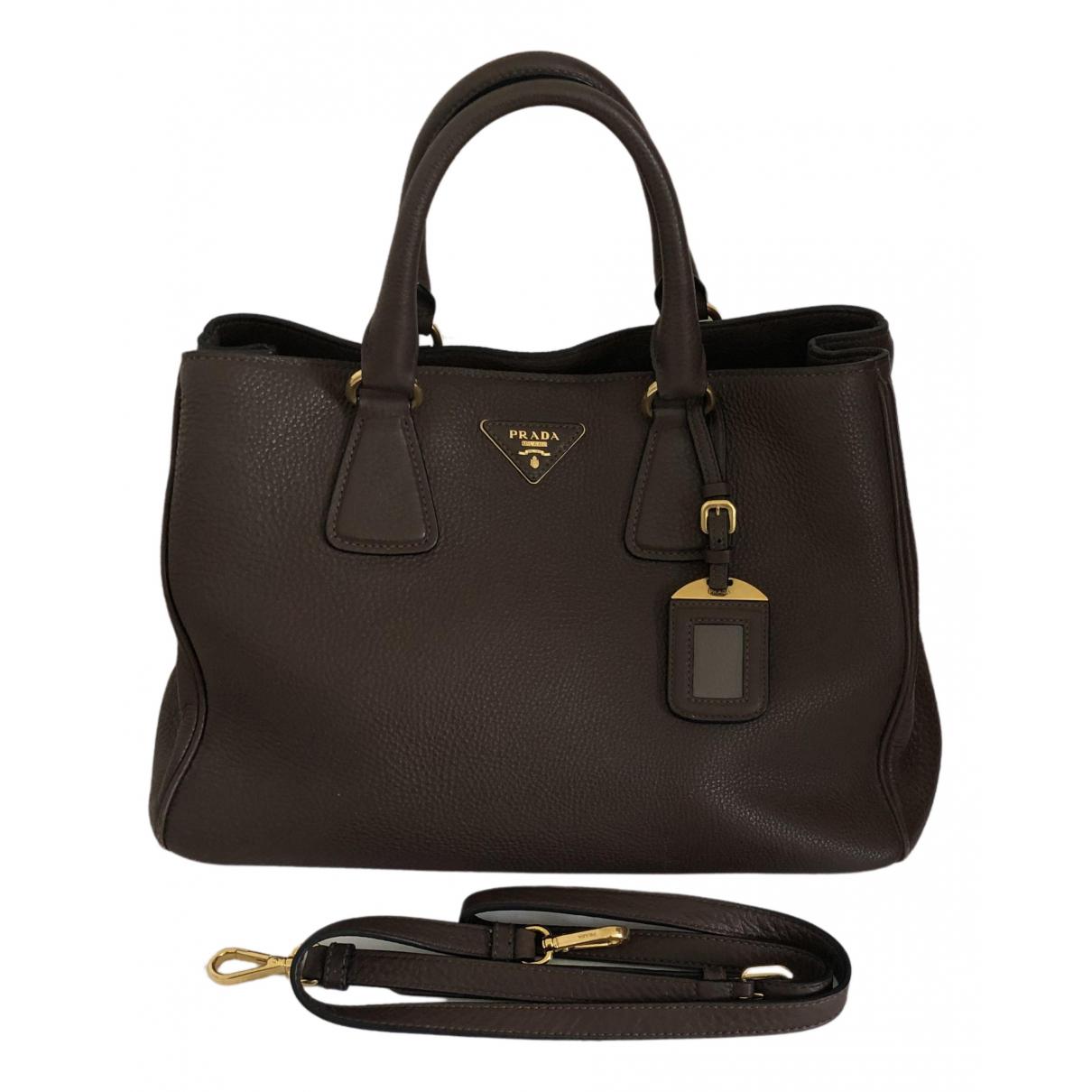 Prada - Sac a main Galleria pour femme en cuir - marron