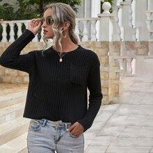 Rippenstrick Crop Pullover mit Taschen vorn