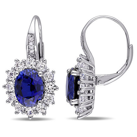 Diamond Accent Lab Created Blue Sapphire Sterling Silver Drop Earrings, One Size , No Color Family