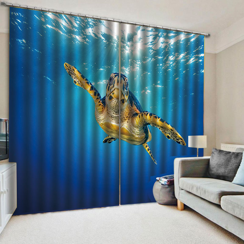 3D Sea Turtle in The Blue Ocean Blackout Window Curtains for Living Room Bedroom No Pilling No Fading No off-lining Blocks Out 80% of Light and 90% of