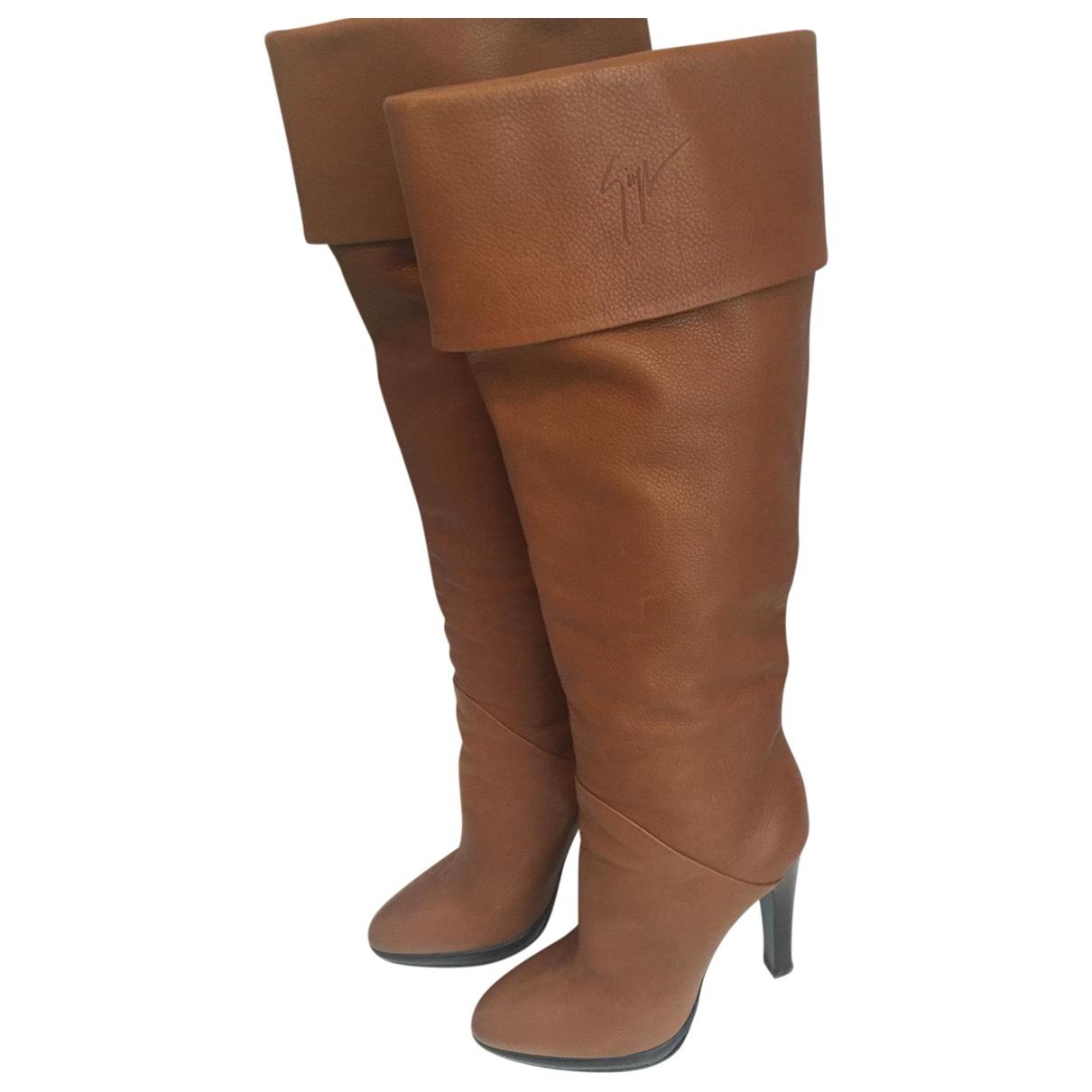 Giuseppe Zanotti \N Camel Leather Boots for Women 37.5 EU