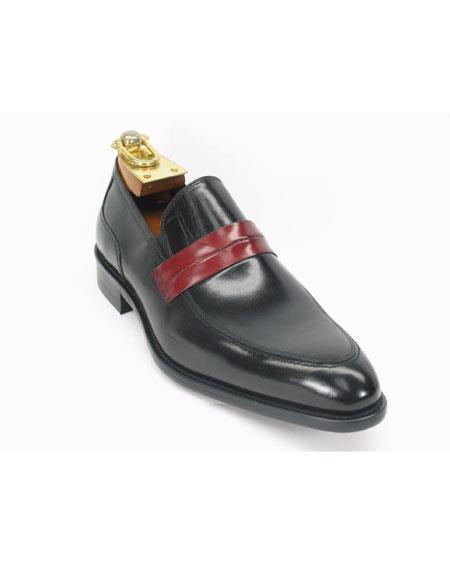 Mens Carrucci Slip On Fashionable Contrast Black Loafer